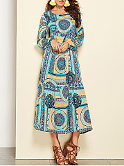 Round Neck Oversized  Printed Maxi Dress