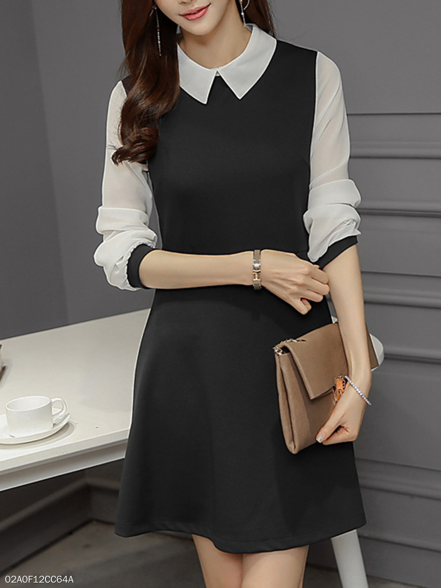 Doll Collar Patchwork Color Block Hollow Out Skater Dress