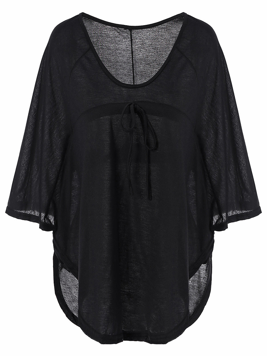 Loose Round Neck  Plain  Batwing Sleeve T-Shirt