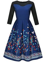 Floral-Printed-Round-Neck-Skater-Dress