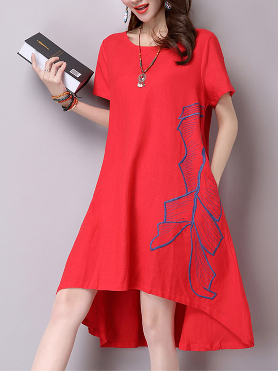 Embroidery High-Low Round Neck Shift Dress