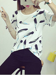 Spring Summer  Cotton  Women  Floral Printed Short Sleeve T-Shirts