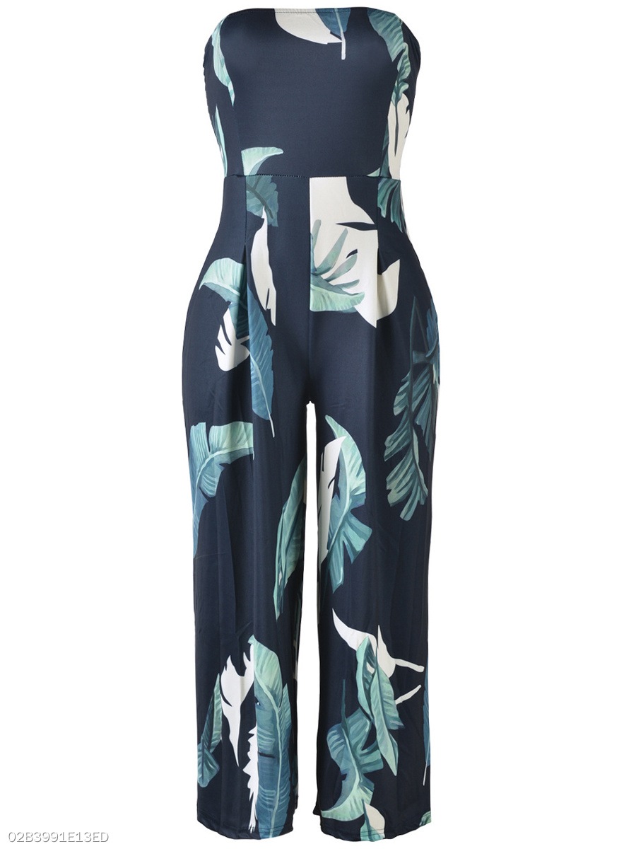 Strapless Leaf Printed Wide-Leg Jumpsuit