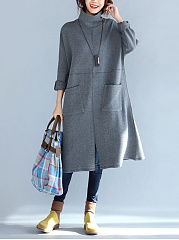 Band-Collar-Patch-Pocket-Plain-Cotton-Maxi-Dress