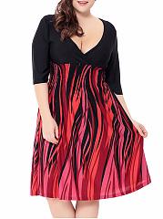 Deep-V-Neck-Elastic-Waist-Printed-Midi-Plus-Size-Flared-Dress