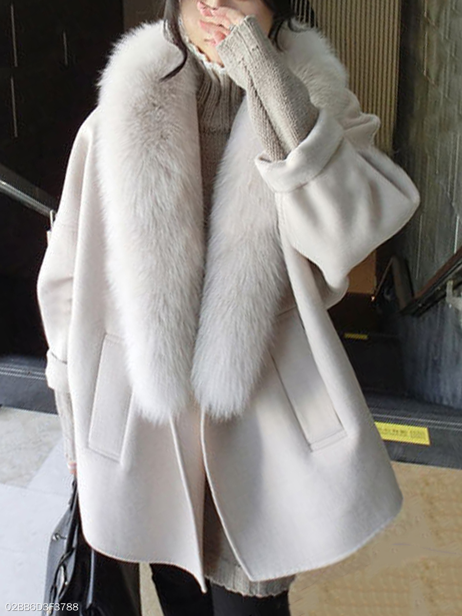 Faux Fur Collar  Slit Pocket  Plain  Long Sleeve Coats