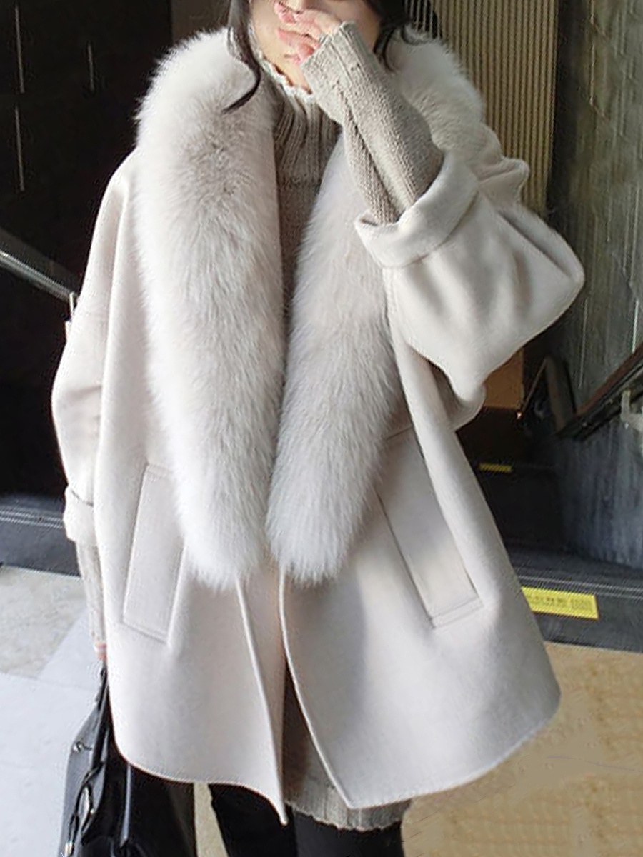 Oversized Faux Fur Collar Plain Woolen Coat