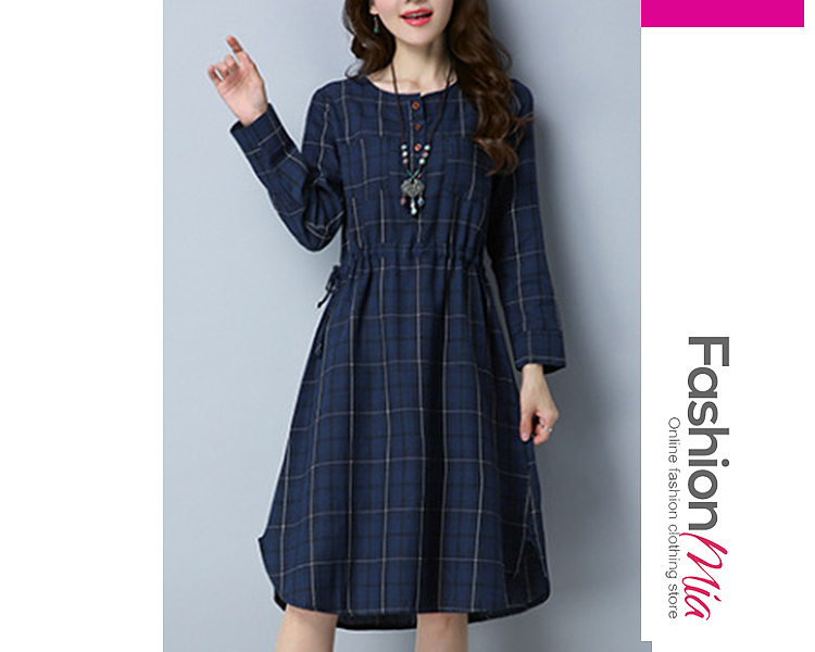 thickness:regular, brand_name:fashionmia, style:british style, material:blend, collar&neckline:round neck, sleeve:long sleeve, embellishment:drawstring, pattern_type:plaid, length:midi, supplementary_matters:accessory is excluded., occasion:date,vacation, season:spring, dress_silhouette:flared, package_included:dress*1, lengthshouldersleeve lengthbust