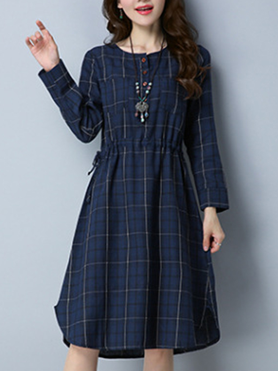 Round Neck Drawstring Plaid Skater Dress