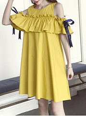 Cute Open Shoulder Flounce Bowknot Plain Skater Dress