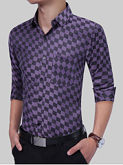 Turn Down Collar  Plaid Men Shirts