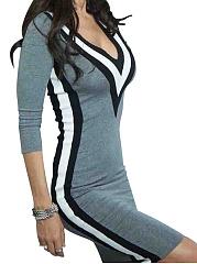 V-Neck-Plain-Blend-Bodycon-Dress
