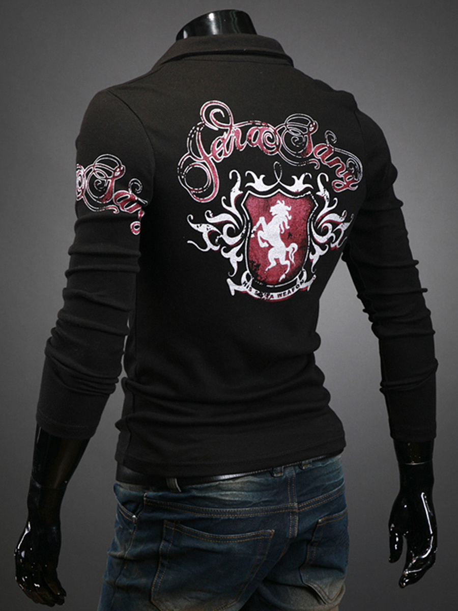 Polo Collar Printed Men Long Sleeve T-Shirt