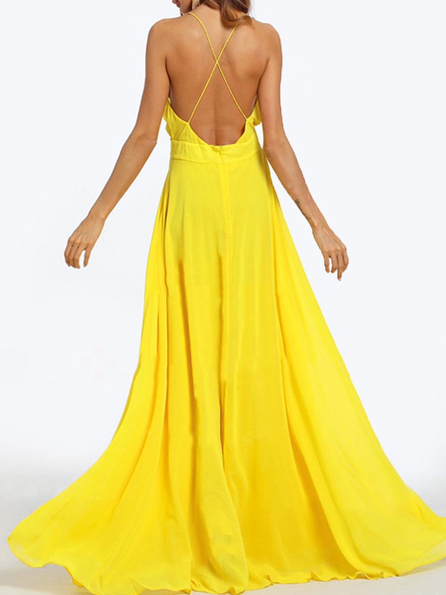 Deep V-Neck  Plain Maxi Dress