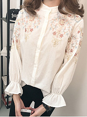 Autumn Spring  Cotton  Women  High Neck  Decorative Lace  Embroidery  Petal Sleeve  Long Sleeve Blouses