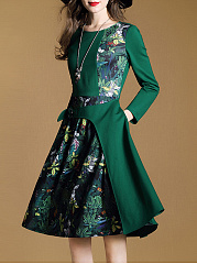 Tropical-Printed-Round-Neck-Skater-Dress