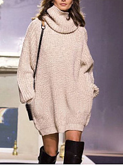 Cowl Neck  Plain Knit Shift Dress