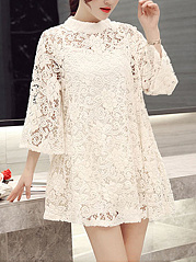 Band-Collar-See-Through-Lace-Lace-Shift-Dress