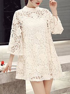 Band Collar  See-Through  Lace  Lace Shift Dress