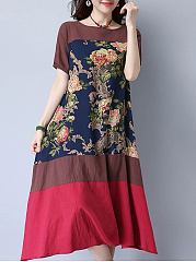 Short-Sleeve-Round-Neck-Color-Block-Printed-Maxi-Dress