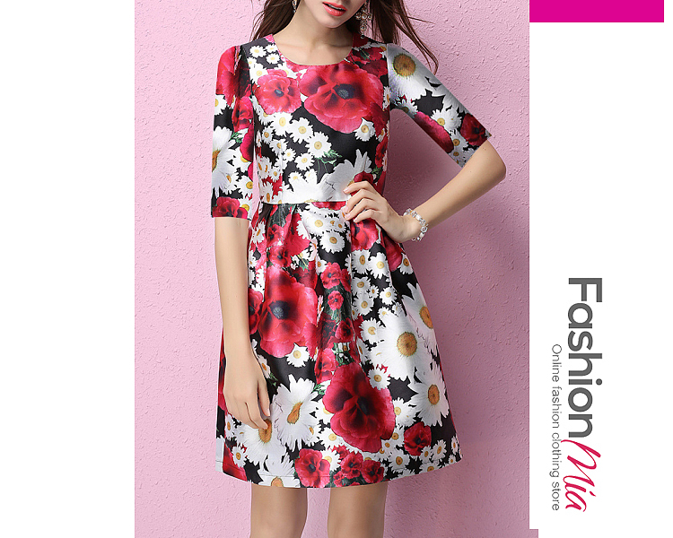 thickness:regular, brand_name:fashionmia, down_content:100%, style:fashion, material:polyester, collar&neckline:round neck, sleeve:half sleeve, pattern_type:printed, length:knee-length, how_to_wash:cold gentle machine wash, supplementary_matters:all dimensions are measured manually with a deviation of 2 to 4cm., occasion:date, season:autumn,spring,summer,winter, dress_silhouette:flared, package_included:dress*1, bustwaist