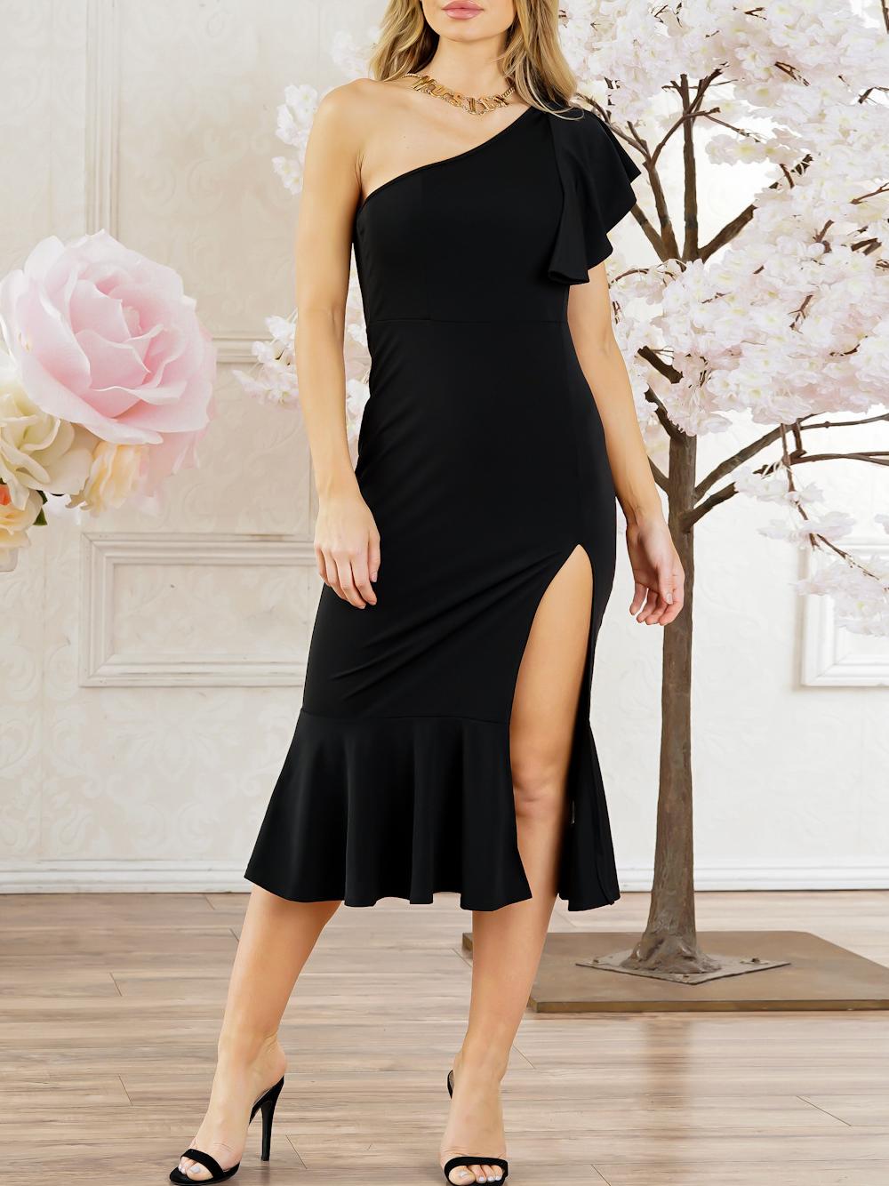 Image For Asymmetric Neck  Plain Bodycon Dress