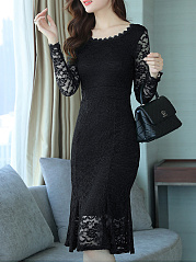 Round Neck  Lace Bodycon Dress