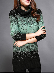 Turtleneck  Gradient Polka Dot  Long Sleeve Sweaters Pullover