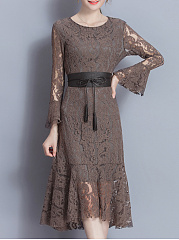 Sexy Lace See-Through Belt Bell Sleeve Solid Long Dress