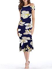Off-Shoulder-Floral-Printed-Mermaid-Bodycon-Dress