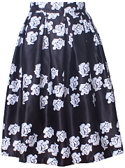 Elastic Waist Inverted Pleat  Floral  Flared Midi Vintage Skirt