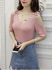 Open Shoulder  Plain  Short Sleeve Sweaters Pullover