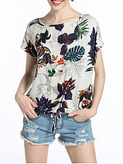 Summer-Cotton-Women-Round-Neck-Printed-Short-Sleeve-T-Shirts