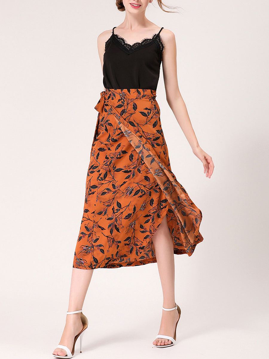 Excellent Printed Flared Maxi Skirt
