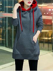 Drawstring Kangaroo Pocket Longline Hoodie