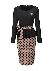 Round-Neck-Removable-Tie-Flounce-Polka-Dot-Bodycon-Dress