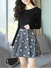 Round-Neck-Geometric-Printed-Mini-Skater-Dress