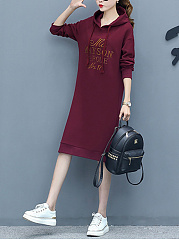 Hooded  Letters Casual Shift Dress