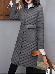 Fold Over Collar  Flap Pocket  Plain Coat