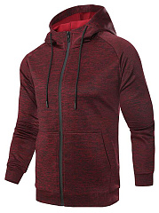 Men-Hooded-Patch-Pocket-Raglan-Sleeve-Coat