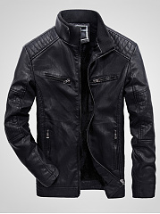 High-Neck-Quilted-Plain-Men-PU-Leather-Fleece-Lined-Jacket