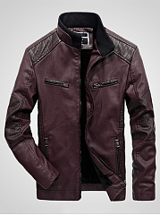 High Neck Quilted Plain Men PU Leather Fleece Lined Jacket