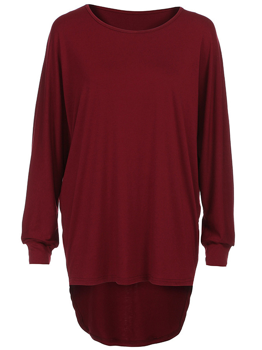 Longline Plain High-Low Batwing Sleeve T-Shirt