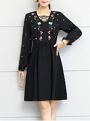 V-Neck  Embroidery Plain Skater Dress
