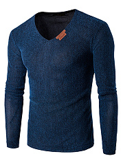 Men Fitted V-Neck Plain Long Sleeve T-Shirt