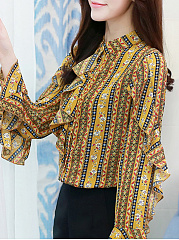 Autumn Spring  Cotton  Women  Round Neck  Flounce  Floral Printed Striped  Long Sleeve Blouses