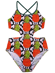 Spaghetti-Strap-Cutout-Pineapple-Printed-One-Piece
