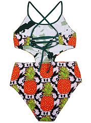 Spaghetti Strap Cutout Pineapple Printed One Piece