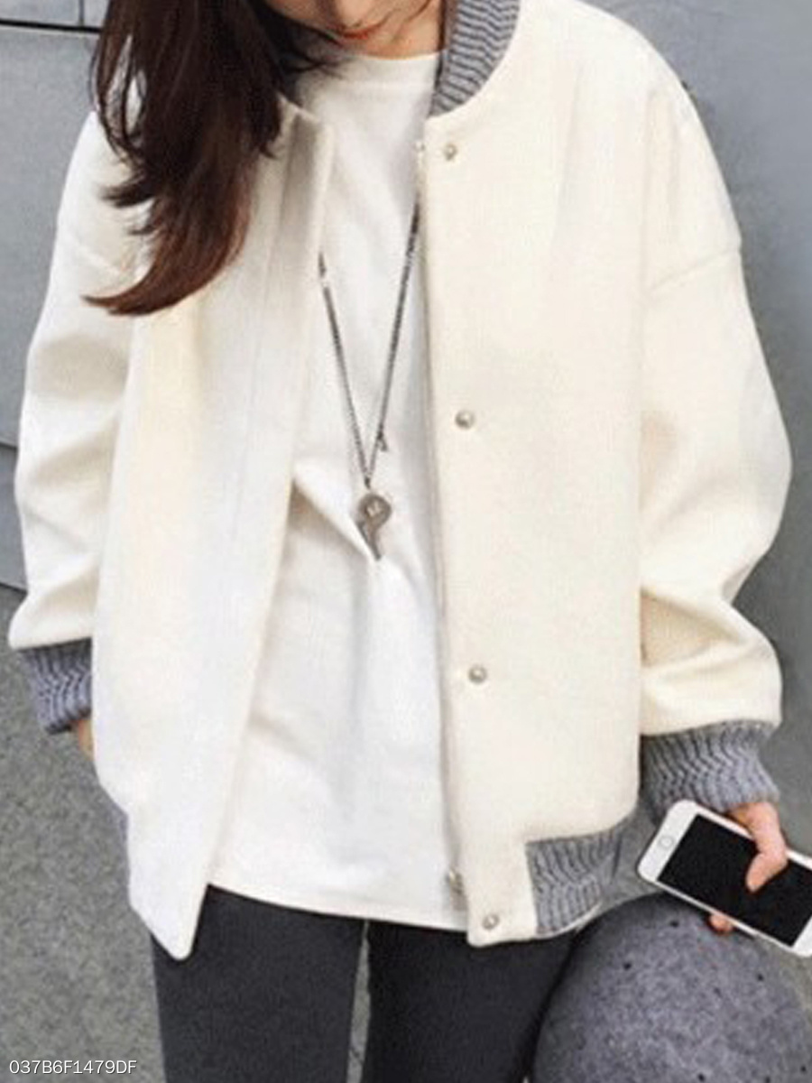 Band Collar  Decorative Button  Plain  Long Sleeve Sweatshirts
