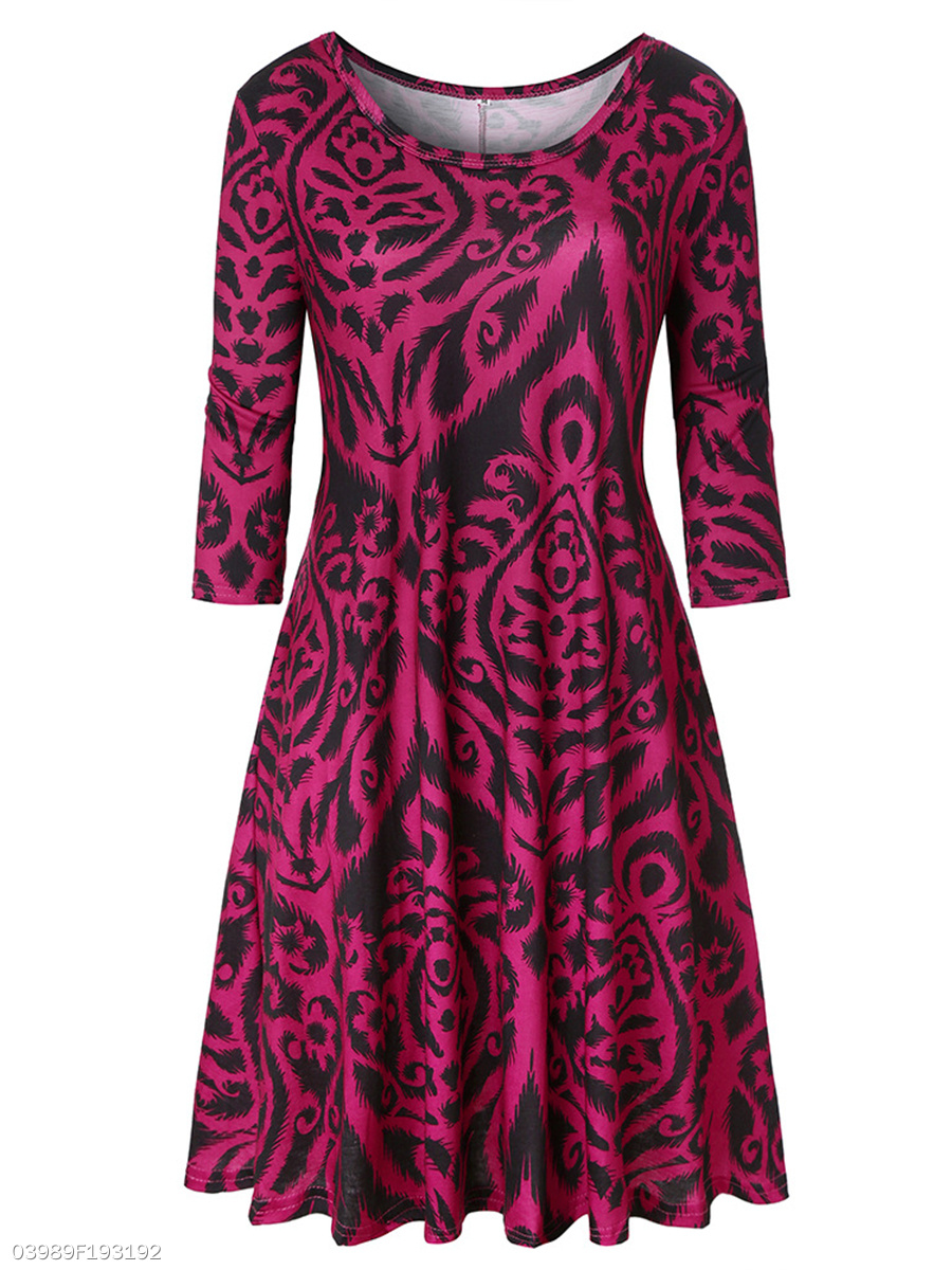 Fashion Round Neck  Printed Midi Shift Dress
